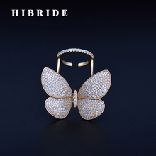 HIBRIDE New Design Clear Butterfly Open Women Ring Micro Cubic Zircon Pave Gold-Color Rings Female Anillos Mujer  R-176