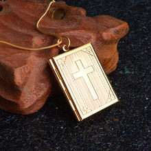 Snake Chain Cross Frame Box Female Pendant Openable Square Case Can Place Photo Winter Popular Sweater Necklace Jewelry Gifts(China)