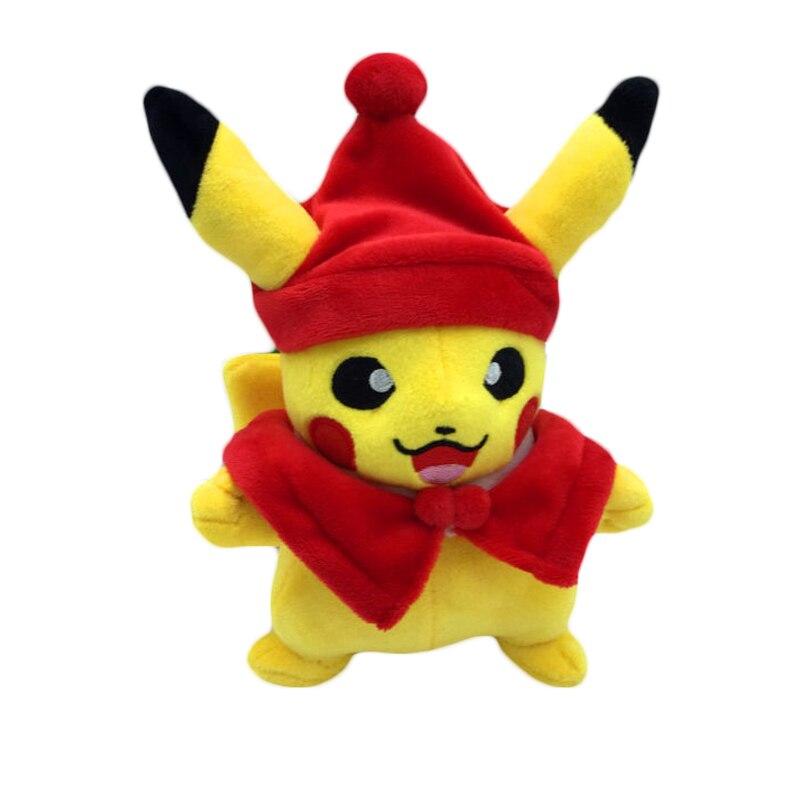 Kawaii Soft Baby Leksaker Röd Halloween Cosplay Pikachu Plush Leksaker för barn Julklappleksaker Söt fylld plysch Pikachu Doll