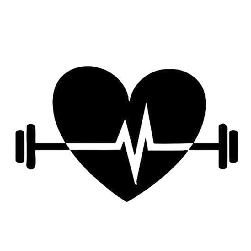 14.6CM*8.9CM Interesting Electrocardiogram Fitness Sports Silhouette Vinyl Car Sticker