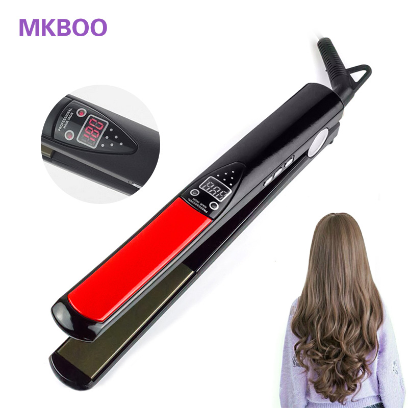 Professional Hair Straightener Digital LCD Display Titanium plates Flat Iron Straightening Irons Styling Tools EU Plug iy z18 professional titanium alloy hair crimping iron red 220 240v 2 flat pin plug