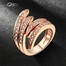 Double Fair Love Angle's Wing CZ Diamond Ring Rose Gold/Silver Plated Fashion Party/Wedding Jewelry For Women Anel DFR115