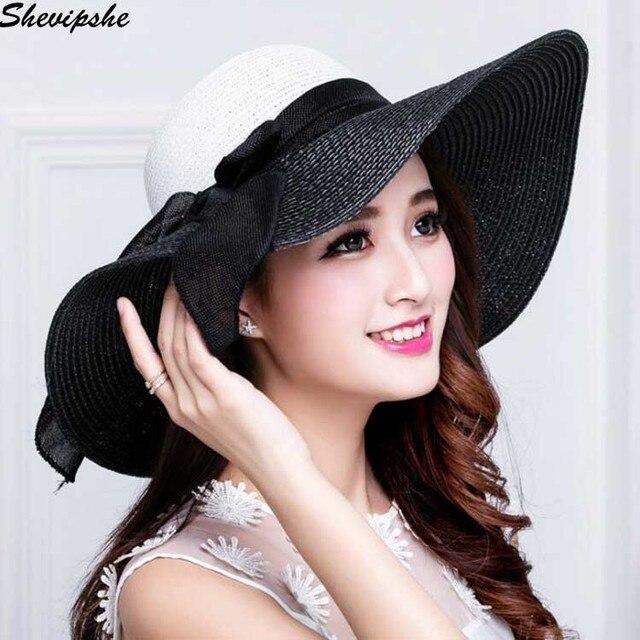 9fb244bd22203 Fashion Foldable Wide Large Brim Sun Hat Women s Summer Bowknot Straw Hats  Women Beach Headwear chapeau Female Panama Hat Ladies