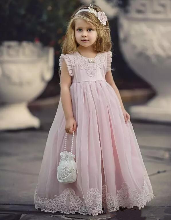 2017 White Ivory New Flower Girl Dresses for Wedding Chiffon With Applique Girls Birthday Dresses Any Size Custom Made 2017 new flower girl dresses white ivory