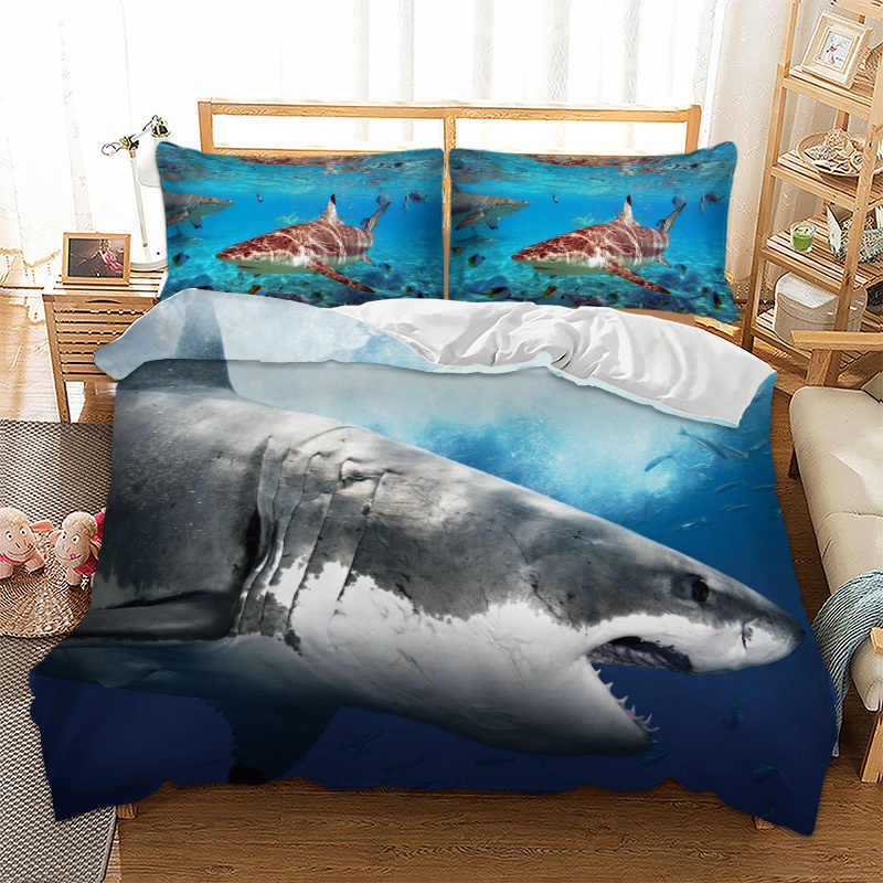 3D White Shark Turtle Fishes Duvet Cover Boys Adults Bedclothes Comforter Cover Pillowcase Comfortable Fashion Bedding Set