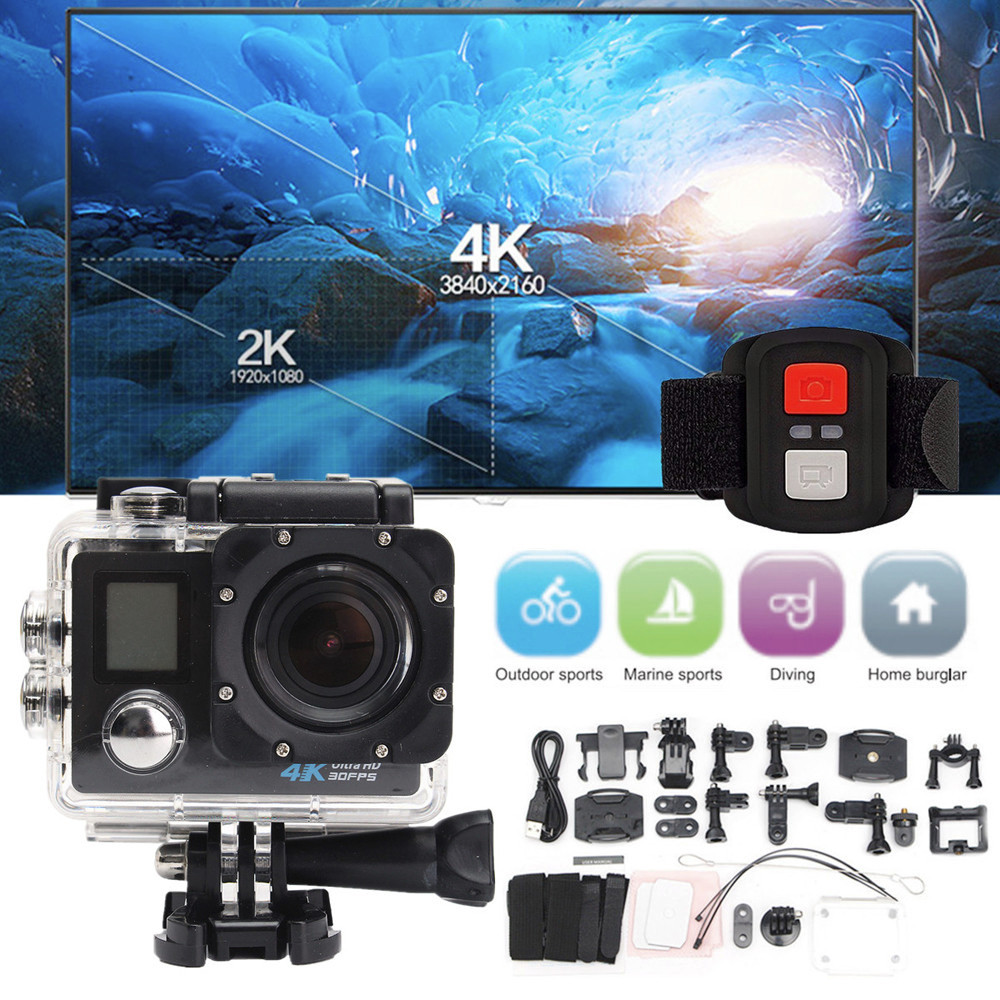 Waterproof 4K Dual Screen Wifi HD 1080P Sports Camera DVR Cam Action Camcorder Single ShotSelf-timer skiing riding