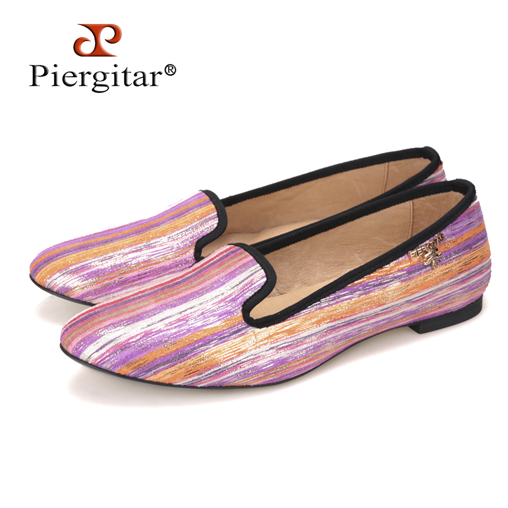 Piergitar new Special Mixed Colors Fabrics Handmade Women shoes with metal charm Womens Casual Flats shoe Prom women loafersPiergitar new Special Mixed Colors Fabrics Handmade Women shoes with metal charm Womens Casual Flats shoe Prom women loafers
