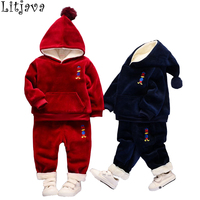 Litjava Baby Girl And Boy Winter Clothes Set 100 Cotton Kids Hooded Down Coat Paint 2Pcs