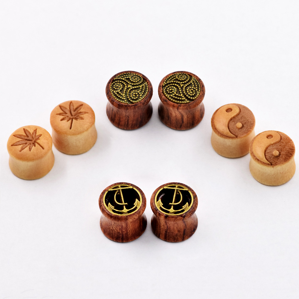 4pair Wood Ear Piercing Tunnels Plugs for Family Ear Skins Expansions Dilators font b Earring b