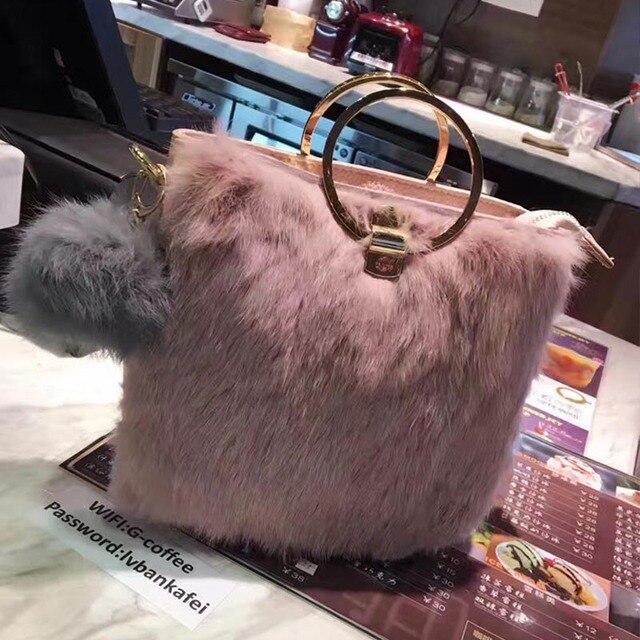 Кошка королева оригинальный кролик кольцо сумочка классический роскошный мех сумка сумки новая зимняя отправить волосы мяч