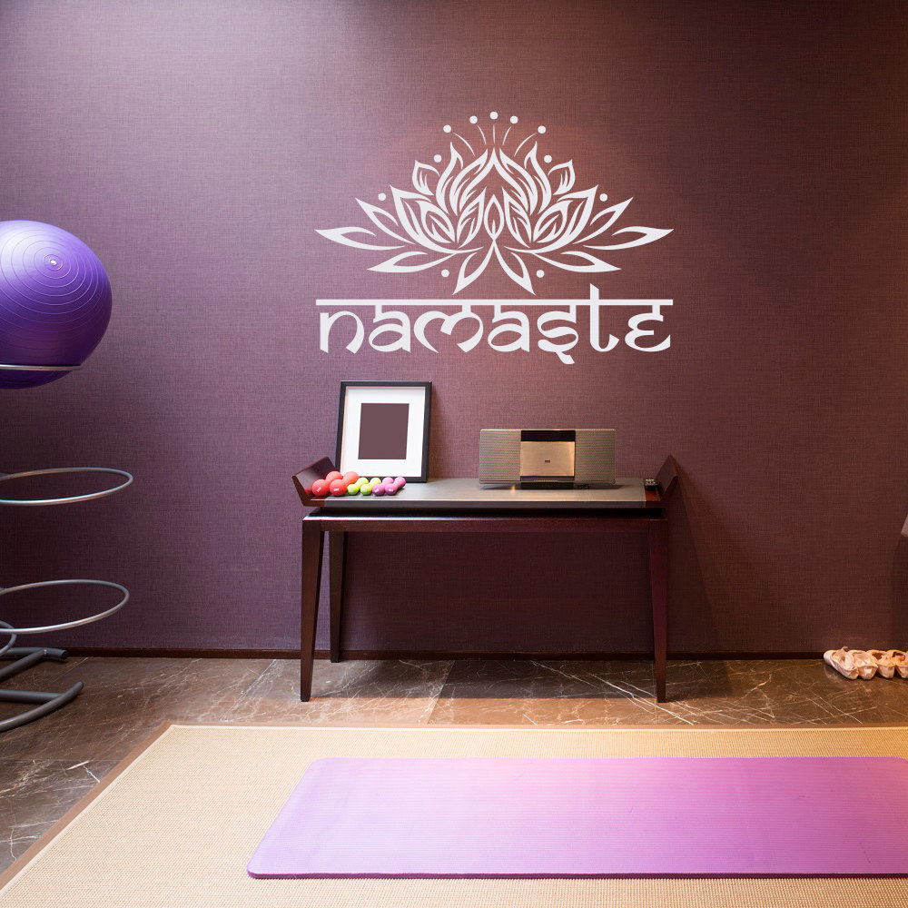 Living Room Yoga Studio Coogee: Mandala Lotus Flower Namaste Wall Stickers For Yoga Studio