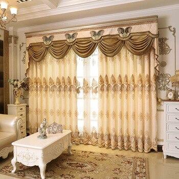 Estilo europeo de alta calidad Chenille bordado sombra cortinas ...
