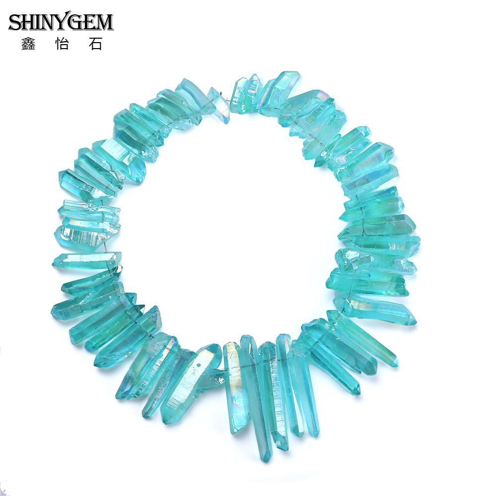 SHINYGEM Punti Commercio All'ingrosso Irregolare Chakra Druzy Pilastro di Cristallo di Luce Blu Di Cristallo Perline di Pietra Naturale Per Monili Che Fanno 50 pz