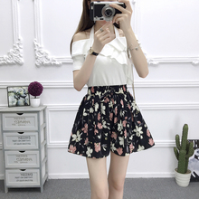 цена на ZOGAA New Womens Shorts Multicolor Elastic Waist Lace Up Floral Loose Shorts Mid Waist Bow Tie Waist Flower Print Ladies Shorts
