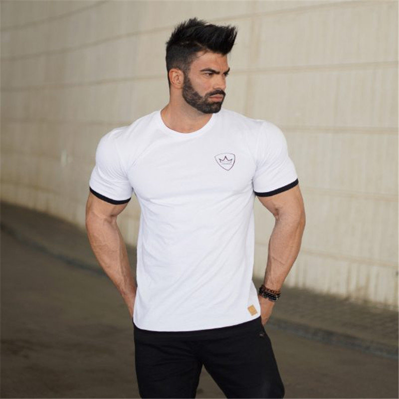 HTB1hwHre nI8KJjSszgq6A8ApXaI 2019 new gym breathable men's muscle fitness short sleeve training bodybuilding fitness cotton sportswear T shirt clothes