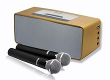 portable karaoke player speaker in 20W power cover 300sm 3d surround subwoofer with  wireless microphone and aux in