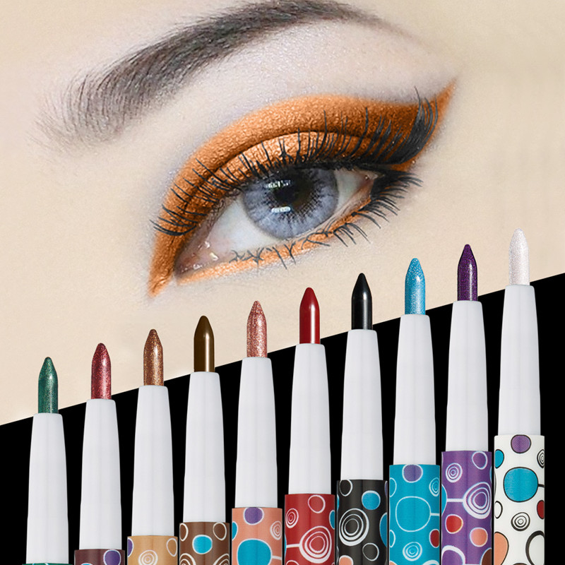 Brand 10 Color Shimmer Matte Eye Shadow Pen Pigment Smoked Glitter Eyeshadow Pencil Eye Liner Pen Makeup
