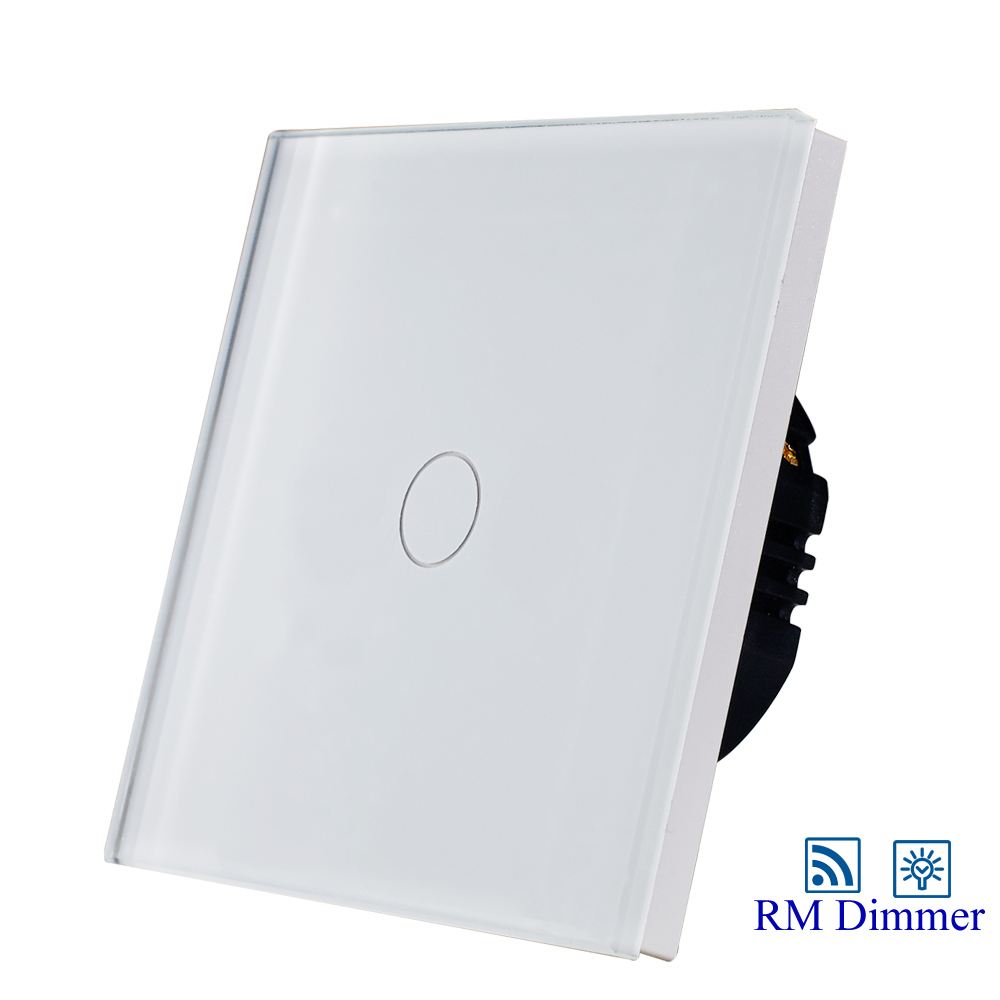 Hot Sale 1gang 1way touch remote dimmer switch for light 1gang 1way touch remote dimmer switch glass panel touch dimmer light switch eu uk standard ac110 240v hot sale