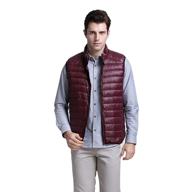 88% White duck down 2016 Men Warm Ultralight Down Jackets Vest Men Solid Thin Autumn Vest Male Lightweight Coats Brand Clothing