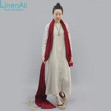 LinenAll original design women's natural linen dress gown loose linen O-neck solid dress robe female GSH