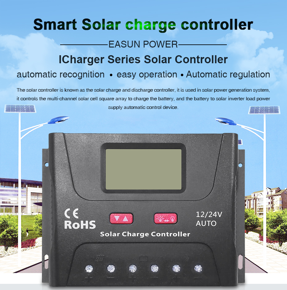 Easun Power Solar Charge Controller 30a 40a Pwm Usb Mode 12v 24v 6a Small Control Ce 5v Voltage Regulator Lcd Display