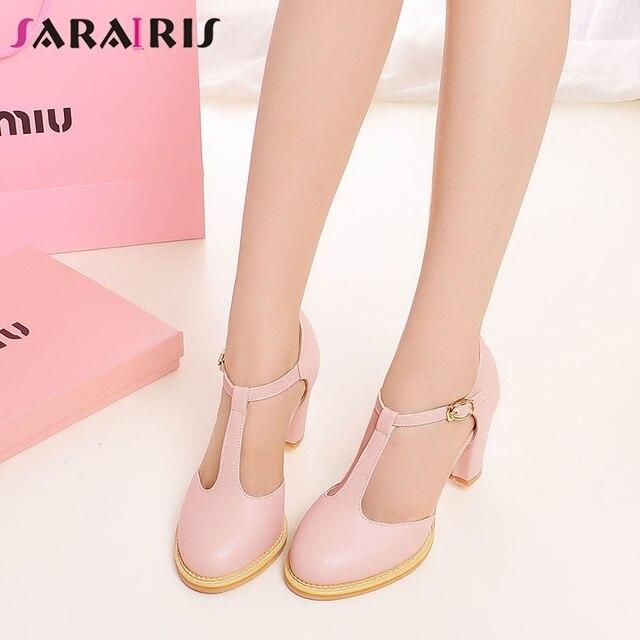ef6ac7c47 SARAIRIS/2019 г. новое поступление, летняя женская обувь на платформе для  школьниц Большие размеры 34-43, туфли на высоком каблуке с Т-образным ремеш.