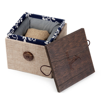 BOBO BIRD National Style Linen and Wooden Box for Watch Jewellery BoxesTop Quality Square Jewelry Set Storage case