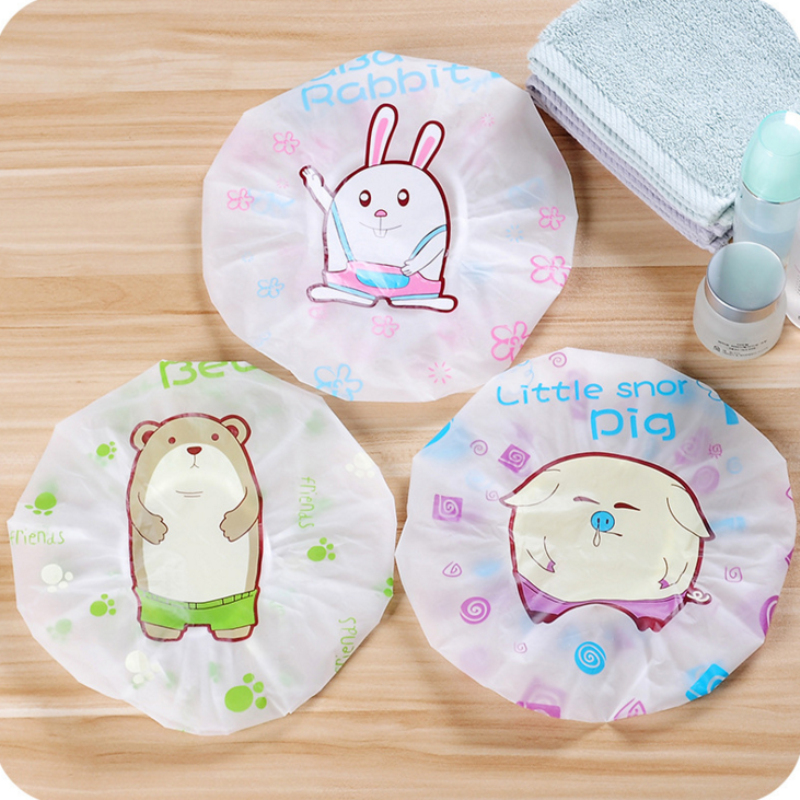 Lovely Cute Cartoon Women Kids Shower Caps Colorful Bath Shower Hair Cover Adults Waterproof Bathing Protective Spa Cap.T-0124