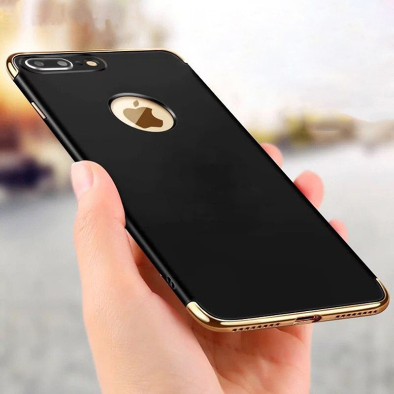 Για iphone 8 7 6S X Case Luxury Plating 360 Full Protective Case For iPhone8 7 6 6S Plus XS 3 in 1 Black Matte Hard Phone Cover