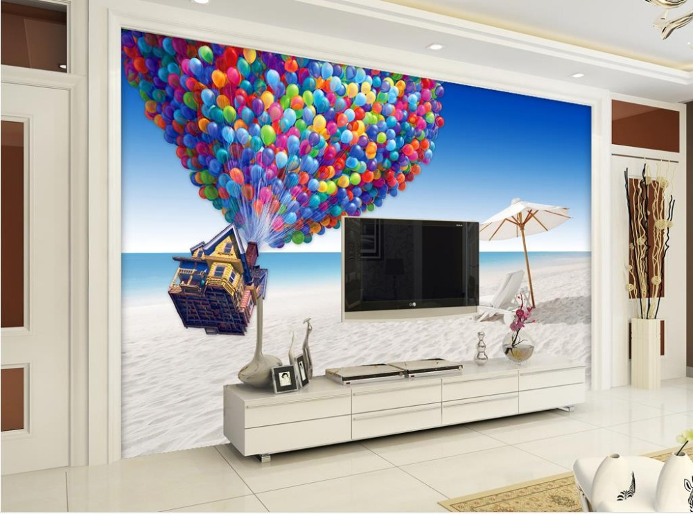 Home decoration window mural wallpaper white balloons for Bathroom mural wallpaper