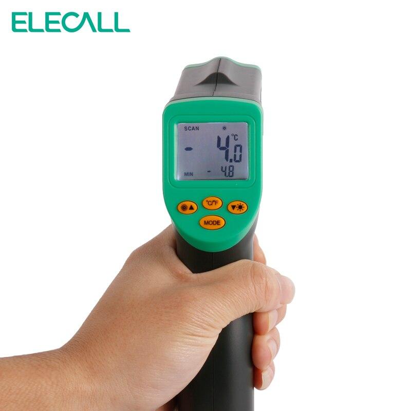 ELECALL EM380 A Raggi Infrarossi Temperatura del Termometro Meter Gun Temp tester digitale Laser A CRISTALLI LIQUIDI Digital Senza Contatto-32-380C Regolabile