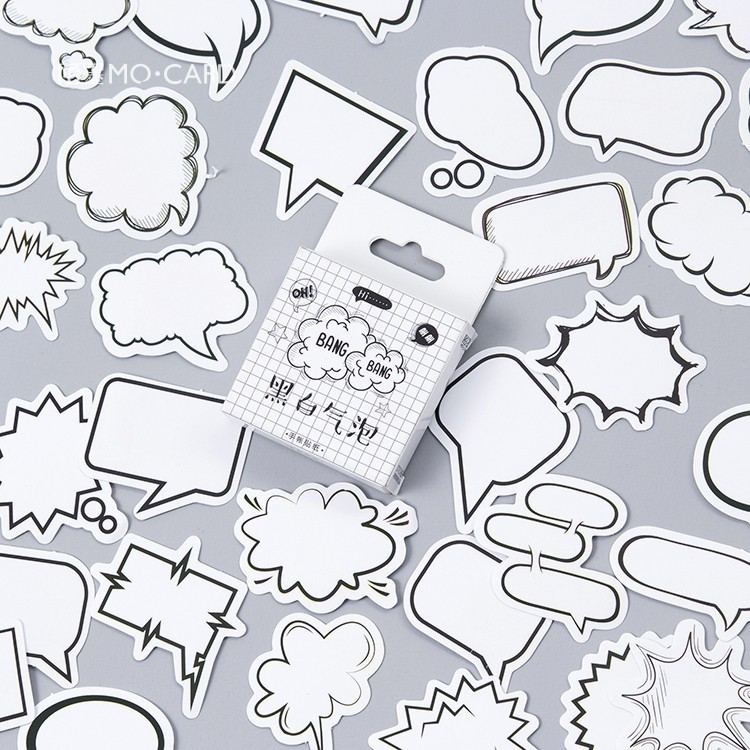 45 PCS/box New Black And White Bubbles Paper Lable Stickers Crafts And Scrapbooking Decorative Lifelog Sticker Cute Stationery 38 pcs stickers bag diy cute happy birthday scrapbook paper stationery crafts and scrapbooking decorative sticker for decoration