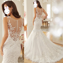 цена Dreamy Design 2015 Wedding Dresses Lace Mermaid Bridal Gowns Scoop Tank See Through Back Vestido de Festa Longo W3562