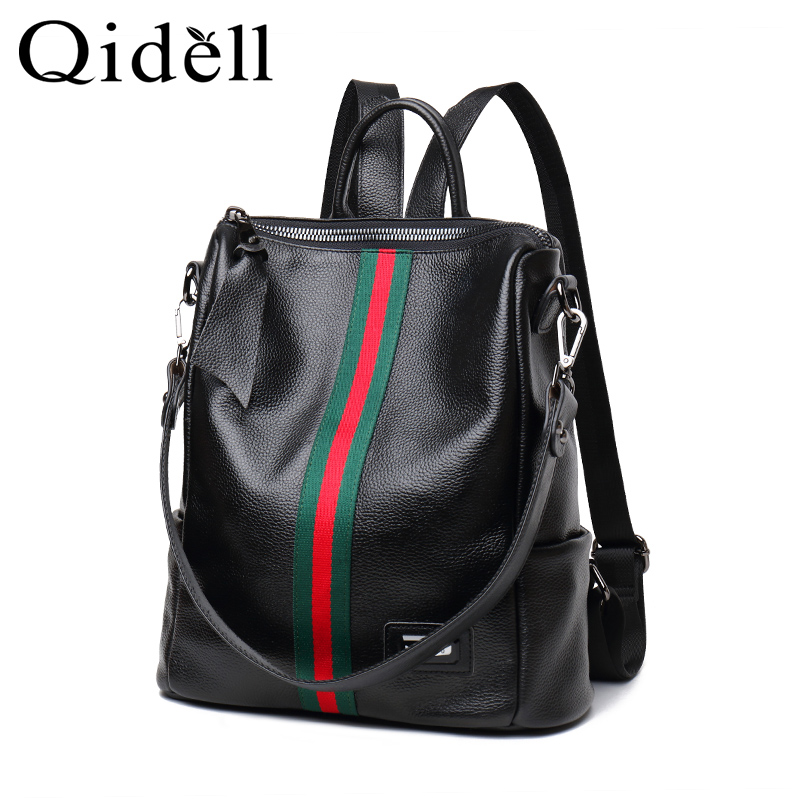 цена The First Layer Leather Casual Backpack Double Use Large Capacity Female Shoulder Bag Women Backpack
