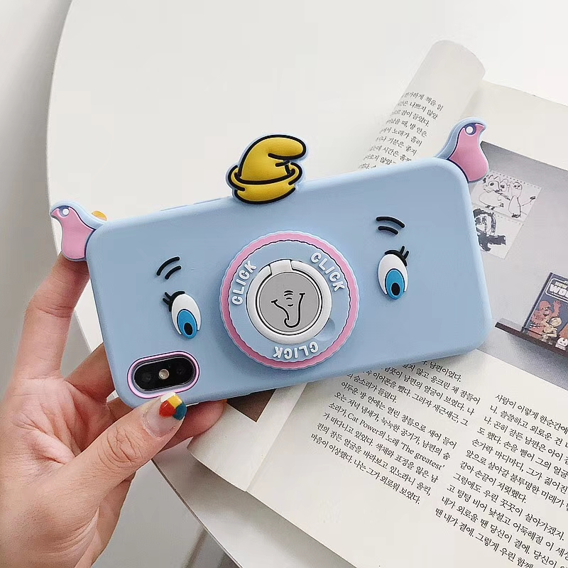 2019 New Elephant Case with Ring Holder for iPhone 6s 7 8 6 plus 7 plus Silicone Cover with Neck Strap for iPhone X XS XR XS MAX in Fitted Cases from Cellphones Telecommunications
