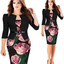 One-piece Faux Jacket Brief Elegant Print Work dress Office Bodycon Female Dress Wear