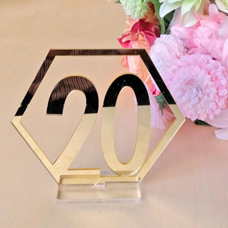 Mirror Wedding Seat Card Hexagon Table Number Signs for Wedding Party Decor Silver Gold Acrylic Number Birthday GeometricTable