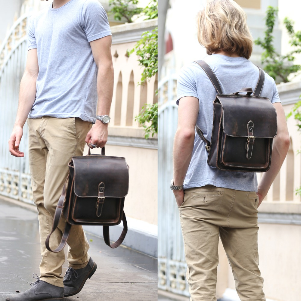 TIDING Real Leather Teen Backpack Brown Shoulder Bag Vintage Style School Bags For Boys Girls 1129