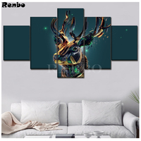 diamond painting crystal sticker Diamond Embroidery 5Piece Fantasy Deer Artistic Animal Poster Mosaic sale Picture Pasted 3d art