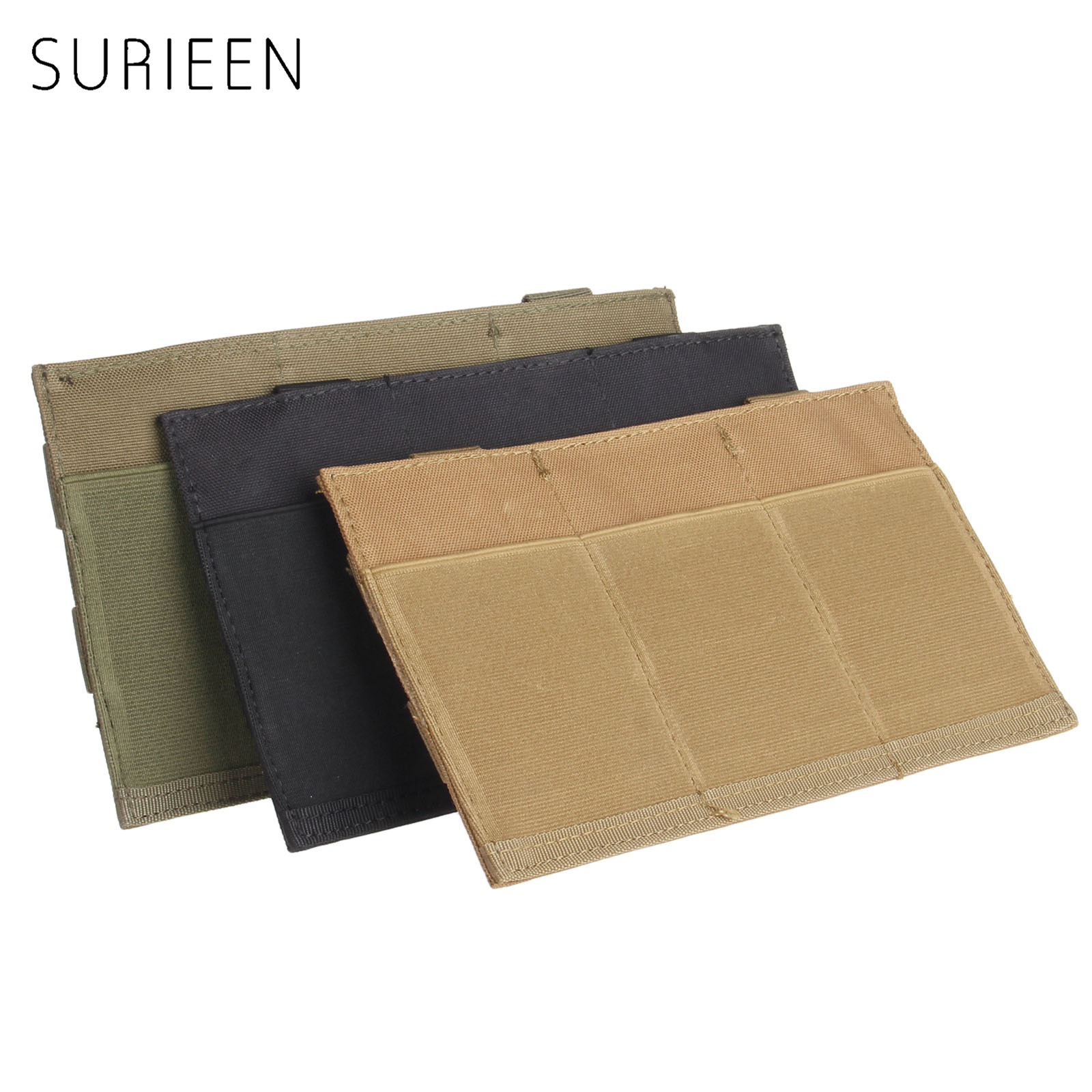 SURIEEN 1PC Portable Outdoor Hunting MOLLE Quick Release Tactical Triple <font><b>M4</b></font> <font><b>Magazine</b></font> Pistol Mag Pouch Bag Holster Elastic Nylon image