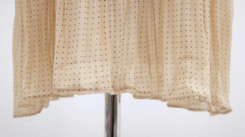 BGTEEVER Vintage O-neck Ruffles Chiffon Women Dress Flare Sleeve Polka Dot Lace Up Female Dress Two Layers Pleated Vestidos 30