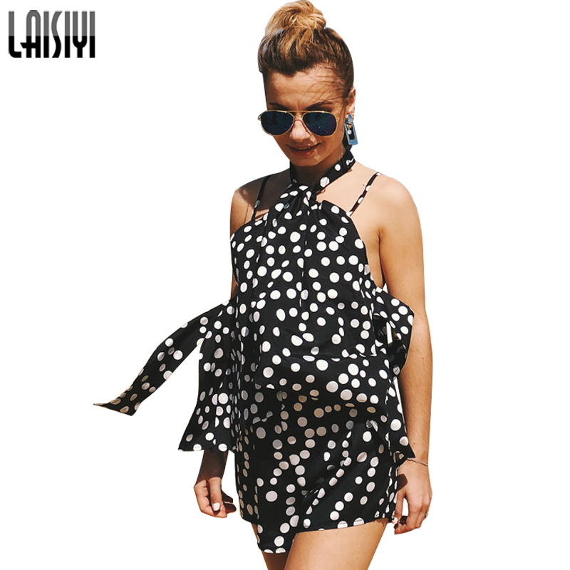 LAISIYI Summer Beach Polka Dots Halter Female Playsuits Lace Up Sexy Overalls Rompers Womens Jumpsuit Short Bohemian ASJU20219