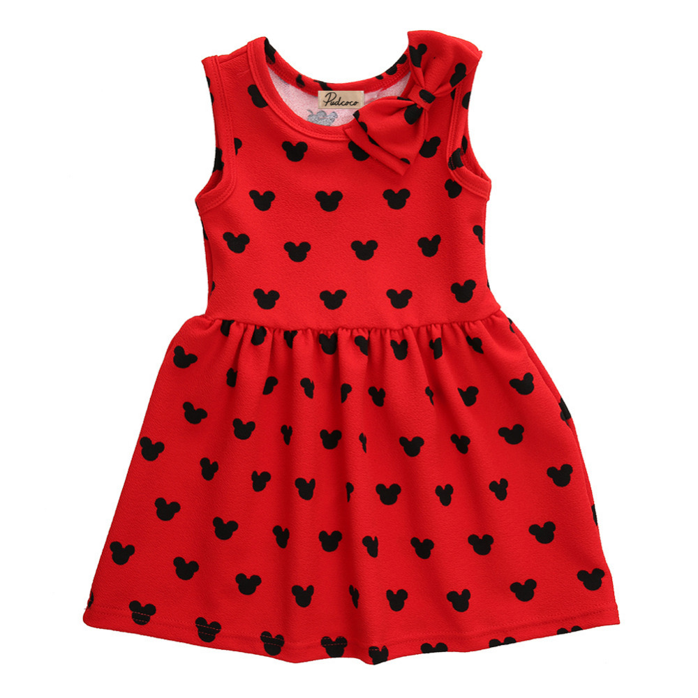 2016 New Baby Girls Princess Dress 1-6Y Kids Girl Sleeveless Bow Dot Party Dress Cute Little Girls Summer Dresses summer baby kids girls dress princess bow sleeveless print dresses baby girl clothes