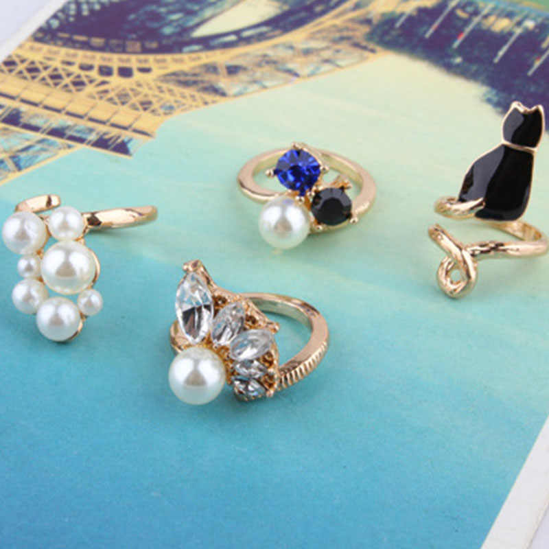 4 Kinds Black Cute Cat White Simulated Pearl Beads Blue Shiny Crystal Clear Zircon Fancy Golden Rings For  Women