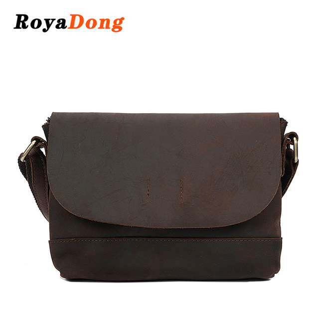 Royadong 2018 Women Messenger Bags Designer Handbags Crazy Horse Vintage Small Shoulder Bag Las Genuine Leather
