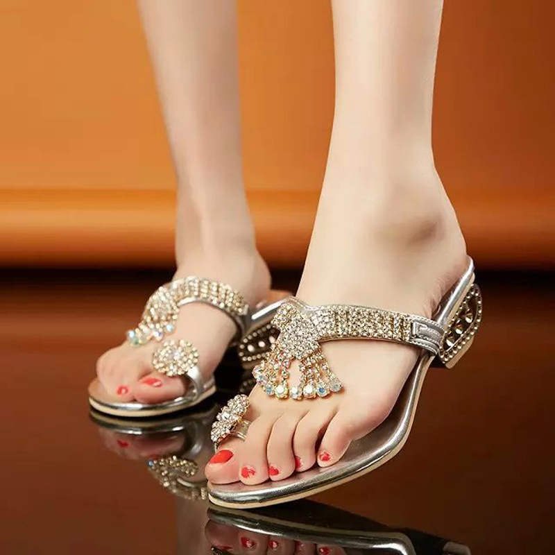 New 2018 Women sandals high quality fashion crystal sandals women slippers med heels 4.5 cm wedge women summer shoes size 34-41 taoffen women shoes women sandals wedge heels platform summer shoes leopard slip on slippers trend fashion shoes plus size 33 43
