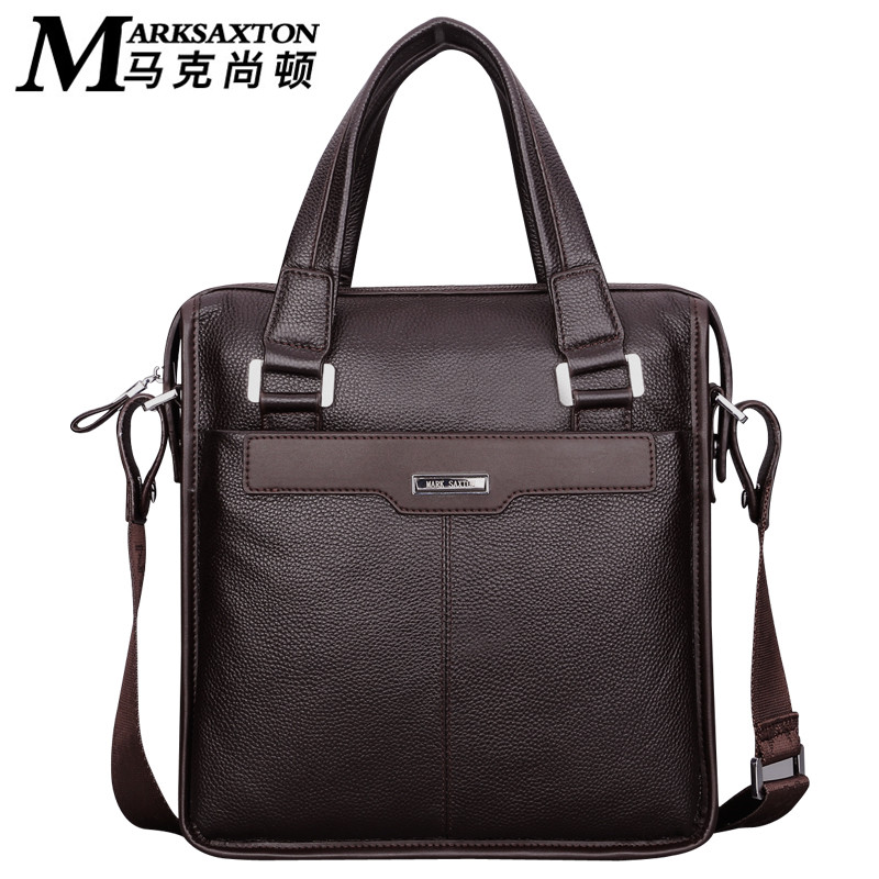 Special Offer MARK SAXTON Brand Design Natural Cow Leather Business Briefcase Vertical Genuine Leather Men's Handbags
