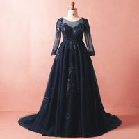 Плюс Размеры Пром синее платье аппликация на прозрачном тюле кружева строгое длинное вечернее платья с длинным рукавом Империя материнств