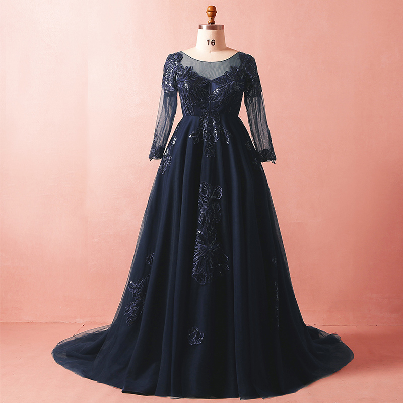 Plus Size Prom Dresses Navy Blue Illusion Applique Lace Formal Long Evening Dresses Long Sleeve Empire Maternity Party Gowns