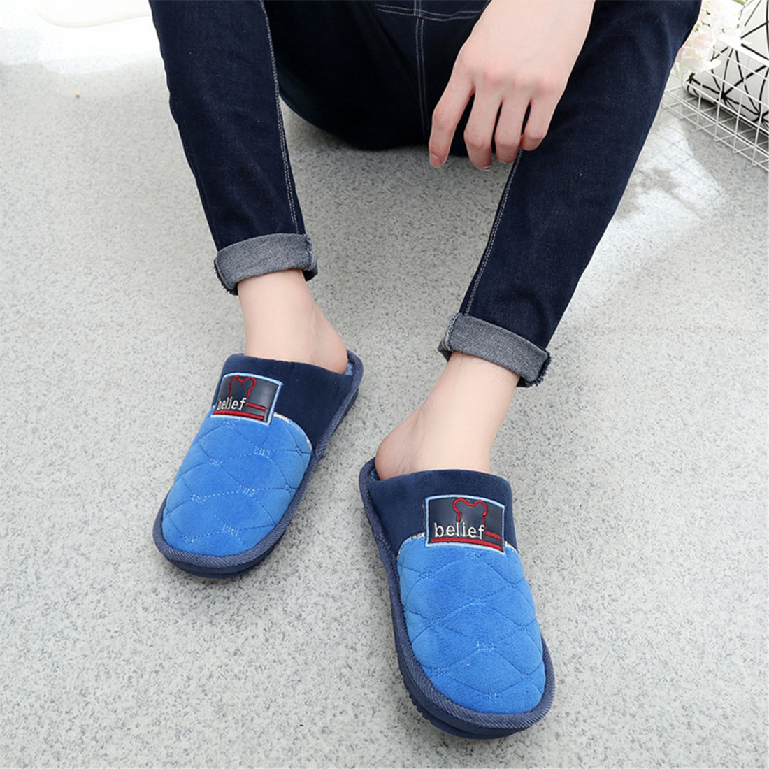 25 off high quality winter warm home men39s slippers non for How to keep shoes from slipping on floor